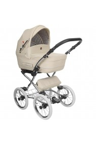 Classic pram Turran Eco Beige Leather Collection 3 in 1 travel system
