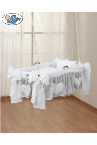 Hanging wicker baby crib White Hearts