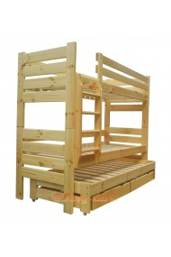 Solid pine wood roll-out bunk bed Gustavo for 3 persons with mattresses and drawers 190x90 cm