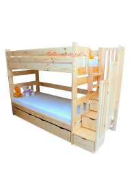 Solid pine wood bunk bed with stairs for 3 person Enrique 3 200x90 cm