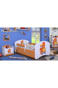 Toddler junior bed Happy Orange Collection with drawer and mattress 140x70 cm