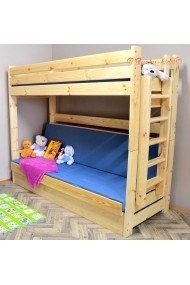 Solid pine wood bunk bed Carlos with mattresses 200x90 and 200x120 cm