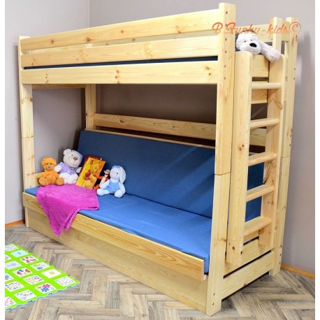 Solid pine wood bunk bed Carlos with mattresses and drawer 200x90
