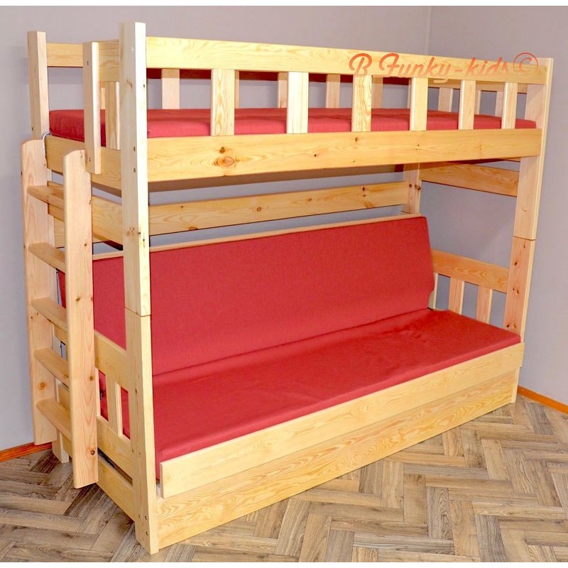 Solid Pine Wood Bunk Bed Fabio With Mattresses 180x80 And