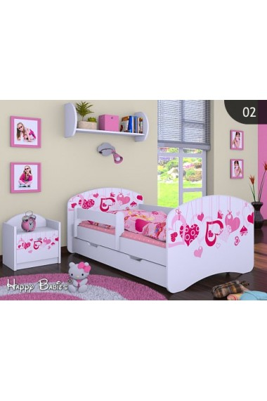 Toddler junior bed Happy Collection for Girls with drawer and mattress