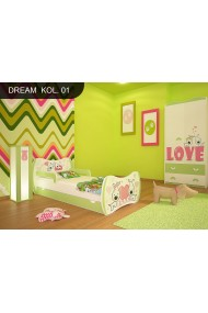 Toddler junior bed Dream Green Collection with drawer and mattress