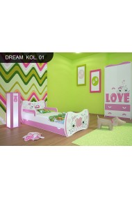 Toddler junior bed Pink Dreams Collection with drawer and mattress