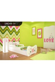 Toddler junior bed White Dreams Collection with drawer and mattress