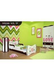 Toddler junior bed Walnut Dreams Collection with drawer and mattress