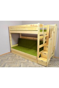 Solid pine wood bunk bed Iris with stairs and mattresses 200x90 and 200x120 cm