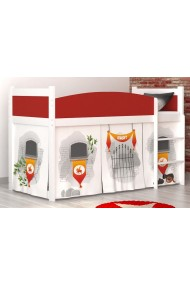 Loft bed mid sleeper Castle with mattress and curtains