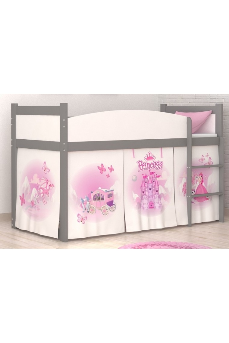 3cfbdc7d274c Loft bed mid sleeper Princess with mattress and curtains