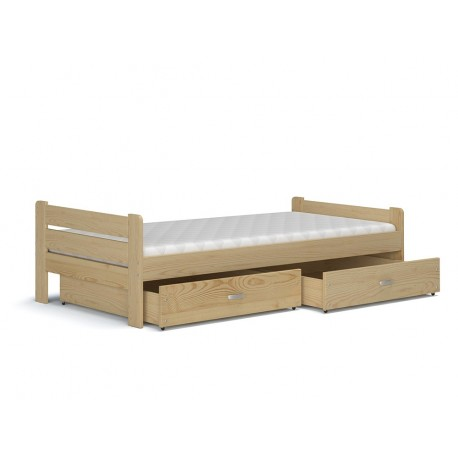 Solid pine wood bed Bruno with drawers and mattress 200x90 cm