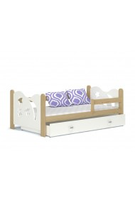 Solid pine wood junior daybed Moon with drawer 160x80 cm