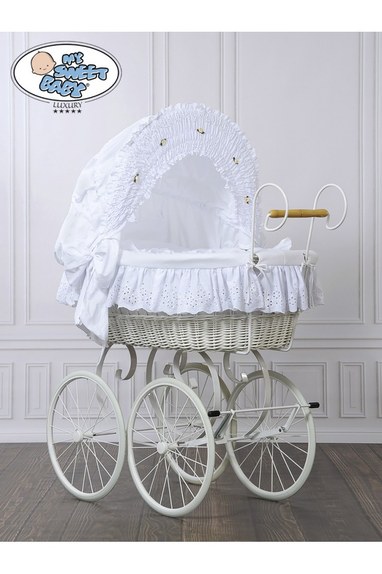 Wicker Crib Moses Basket Vintage Retro White