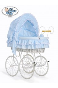Wicker Crib Moses basket Vintage Retro - Blue-White