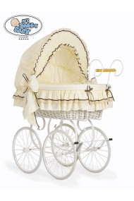 Wicker Crib Vintage Retro - Cream-White