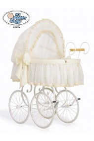 Wicker Crib Moses basket Vintage Retro - Cream-White