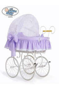 Wicker Crib Moses basket Vintage Retro - White-Lilac
