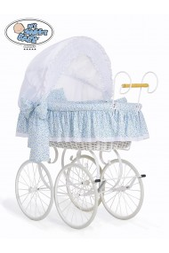 Wicker Crib Moses basket Vintage Retro - White-Blue