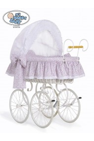 Wicker Crib Moses basket Vintage Retro - White-Pink