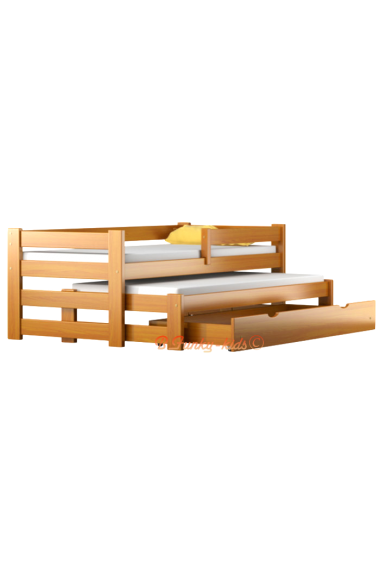 Trundle roll-out solid wood daybed with drawer and mattresses Pablo 160x70 cm